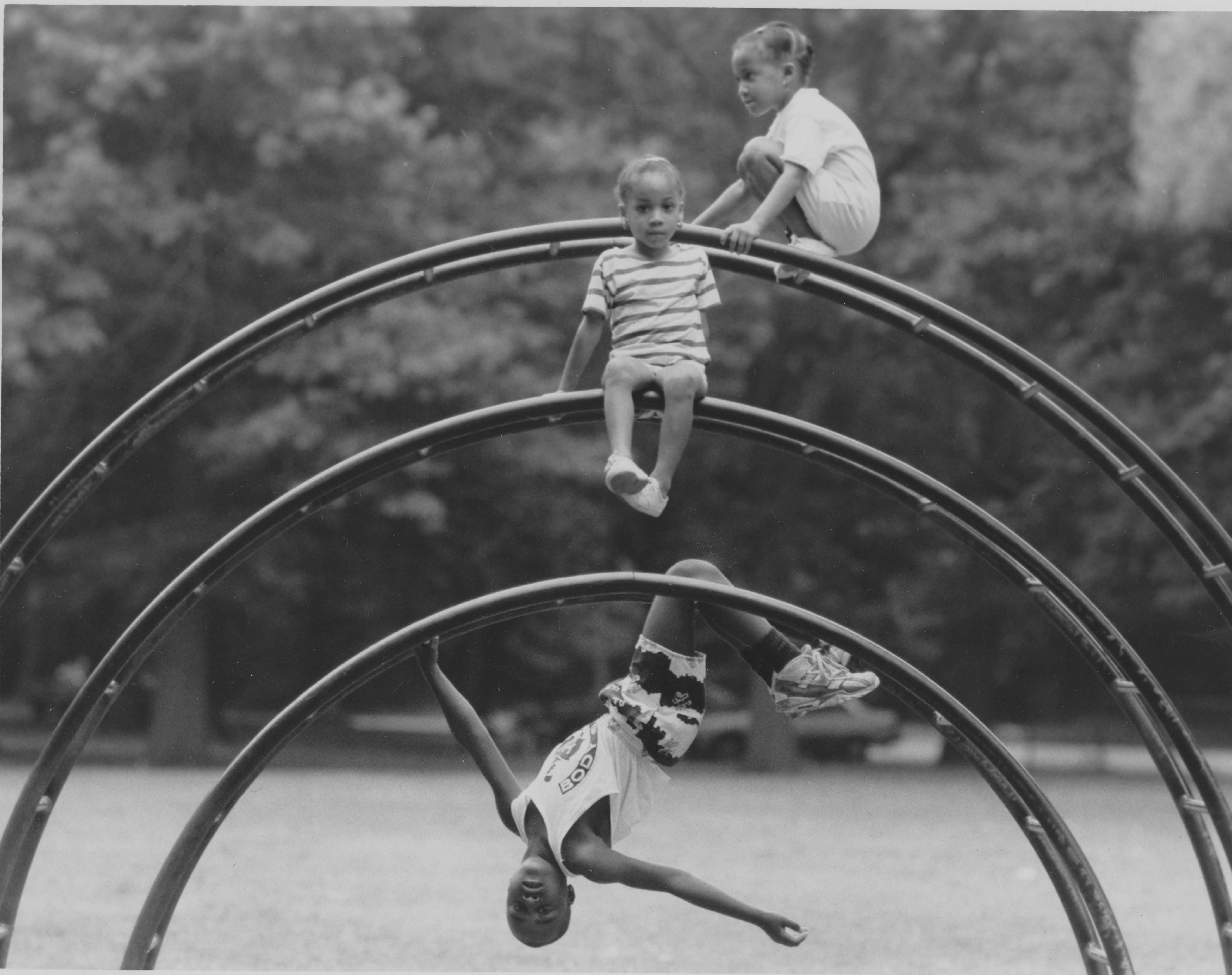 Children on jungle gym at Weequahic Park, 1991019