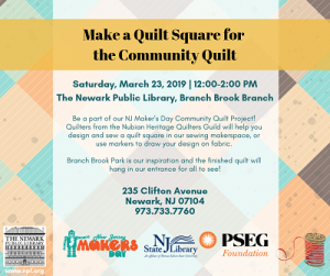 Make a Quilt Square for the Community Quilt @ The Newark Public Library, Branch Brook Branch | Newark | New Jersey | United States