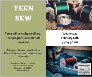 Teen Sew @ Van Buren Branch Library | Newark | New Jersey | United States