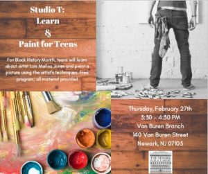 Studio T: Learn & Paint for Teens @ Van Buren Branch Library | Newark | New Jersey | United States