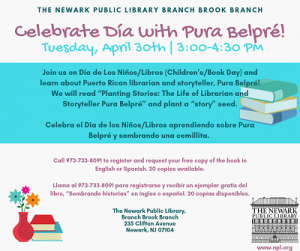 Celebrate Día with Pura Belpré! @ The Newark Public Library, Branch Brook Branch | Newark | New Jersey | United States