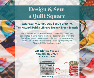 Design & Sew a Quilt Square @ The Newark Public Library, Branch Brook Branch | Newark | New Jersey | United States
