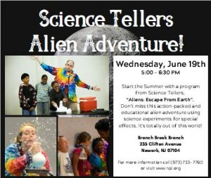 Science Tellers Alien Adventure! @ The Newark Public Library, Branch Brook Branch | Newark | New Jersey | United States