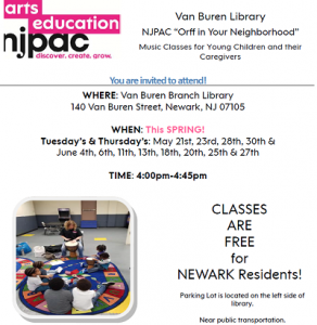 "NJPAC ""Orff in Your Neighborhood"" - Van Buren Branch @ The Newark Public Library, Van Buren Branch 