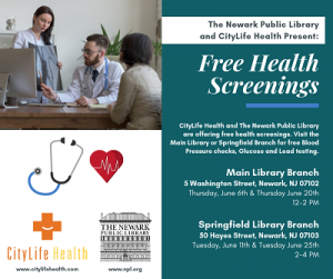 Free Health Screenings @ The Newark Public Library, Springfield Branch | Newark | New Jersey | United States