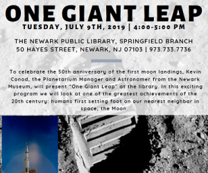 One Giant Leap: Springfield Branch @ The Newark Public Library, Springfield Branch | Newark | New Jersey | United States