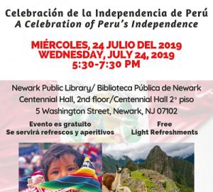 A Celebration of Peru's Independence | Celebración de la Independencia de Perú @ The Newark Public Library, Centennial Hall, Second Floor | Newark | New Jersey | United States