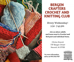 Bergen Crafters Crochet & Knitting Club @ The Newark Public Library, Clinton Branch | Newark | New Jersey | United States