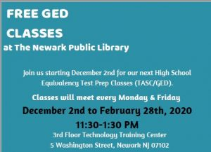Free GED Classes @ NPL @ The Newark Public Library, Third Floor Technology Training Center