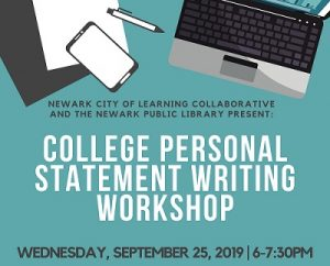 College Personal Statement Writing Workshop @ The Newark Public Library, 3rd Floor Teen Room