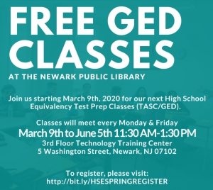 Free GED Classes-CANCELLED @ The Newark Public Library, 3rd Floor TTC