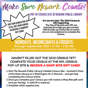 Make Sure Newark Counts! Pop-up Census Site @ NPL