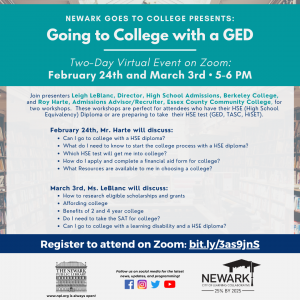 Newark Goes to College Presents: Going to College with a GED