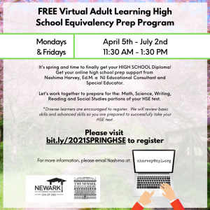 FREE Virtual Adult Learning High School Equivalency Prep Program