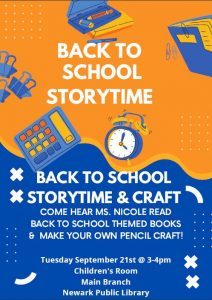 Back to School Storytime with Ms. Nicole @ NPL Main Children's Room!
